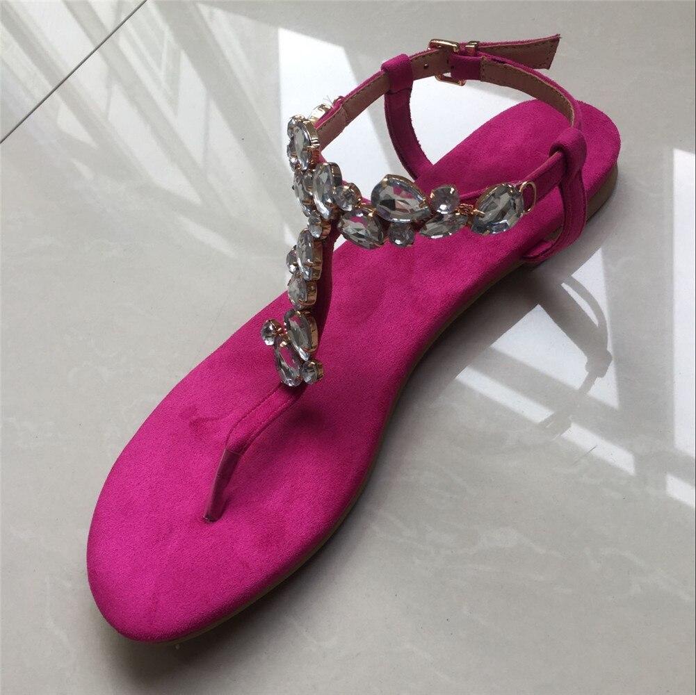 Lapolaka marque Design grande taille 35-47 loisirs cristaux Top qualité plage femmes chaussures d'été chaussures plates femme sandales tongs - 6