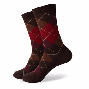 Image 5 - Match Up Men Colorful Argyle  Cotton Crew socks  Brand Business Socks  (5 pairs / lot )