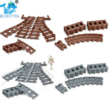 Flexible City Compatible  Trains Rails Sets Forked Straight Curved compatible legoergy Building Blocks Track Railway Model Toys цена и фото