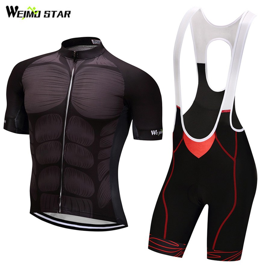 WEIMOSTAR Men Cycling Jersey Muscle Cycling Clothing Bicycle Short Sleeve Set