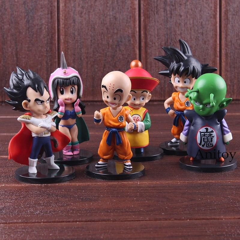 Anime Dragon Ball Dragon Children Son Goku Gohan ChiChi Piccolo Vegeta Krillin PVC Dragonball Action Figures Toys 6pcs/set 1