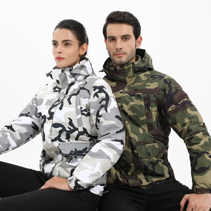 все цены на Autumn Winter Men Women Waterproof Jacket Outdoor Camping Trekking Coat Fishing Windbreaker Climbing Camouflage Hiking Jackets