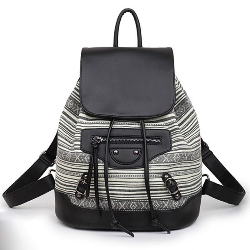 Fashion Backpack Women Preppy School Bags For Teenagers Grils Travel Bags Leather And Canvas Bagpack Striped Back Pack Mochila purple flowers printed dream teenagers backpack fresh preppy adorable sthdents school bags fashion travel hiking computer bag