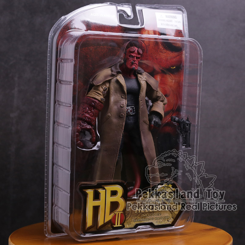Movie HB Hellboy Series Includes Samaritan Handgun PVC Action Figure Collectible Model Toy 20cm 7 hellboy action figure wounded hellboy includes samaritan handgun cool hb collectible model toy