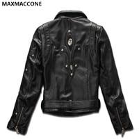 2018 Women Black Diagonal Zipper Genuine Leather Motorcycle Jacket Plus Size XXXL Real Sheepskin Short Female Coat FREE SHIPPING