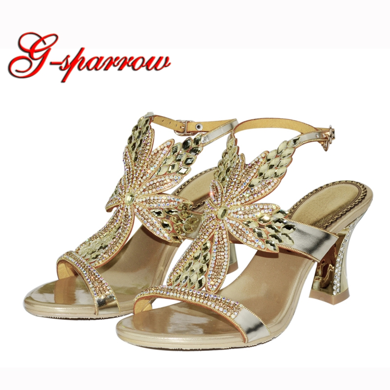 fcef54c8d80 Online Shop Gorgeous Crystal Comfortable Sandals Prom Party Shoes Chunky Heels  Summer Bridal Wedding Shoes with Ankle Strap Champagne Purple