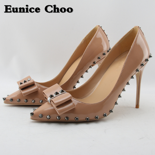 Eunice Choo Spring Women s High-heeled Shoes Bowknot Rivets Bridal Leather Shoes  Women Pumps Slip on Thin High Heels Pumps Woman 0b68892d5a99