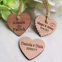 65 200pcs Personalized Engraved Wedding Name And Date Wooden Heart Tag Gift Favor Tag Bridal Shower
