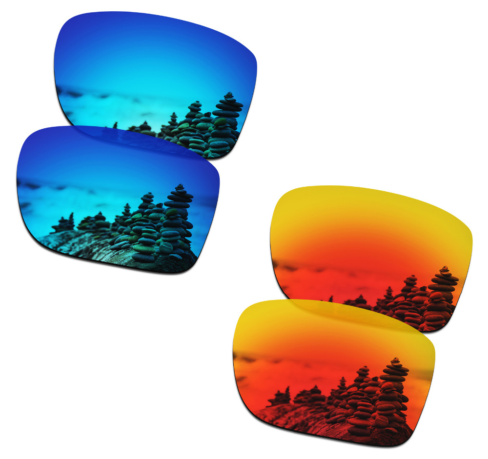 SmartVLT 2 Pairs Polarized Sunglasses Replacement Lenses for Oakley Holbrook Metal Ice Blue and Fire Red