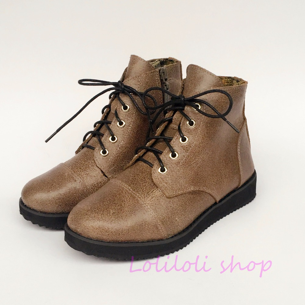 Princess sweet lolita shoes loliloli yoyo Japanese design custom big size camel genuine leather lace-up short flat boots 9236