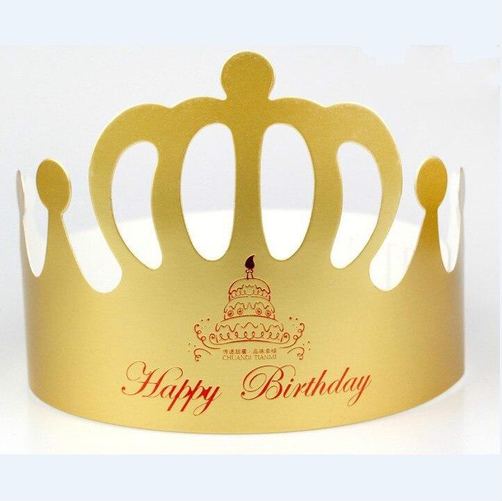 6pcs Gold Princess Crown Design Brithday Cake Cap Paper