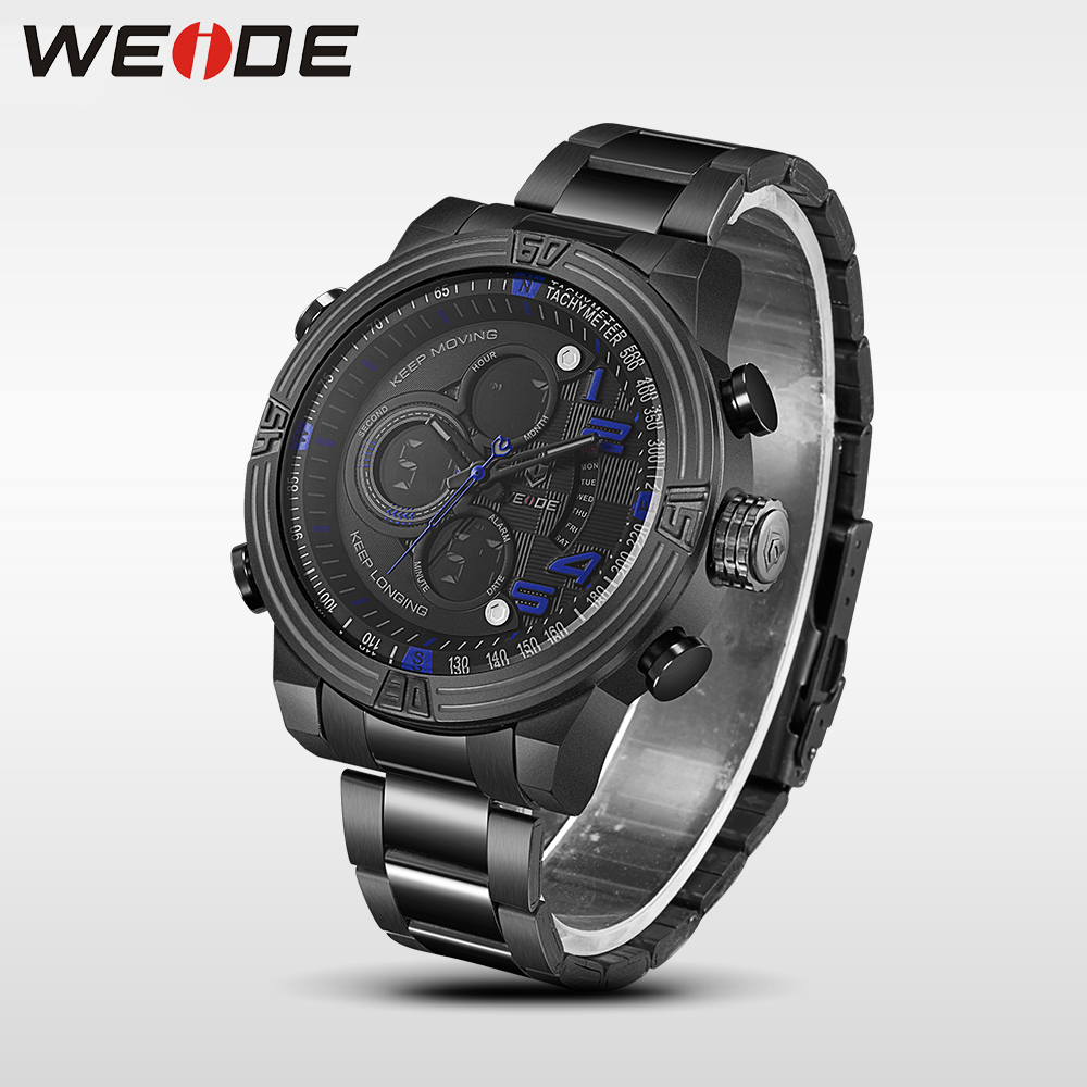 WEIDE mens watches top brand luxury Men Quartz Digital Sport Watchr 3ATM Waterproof New Style Watches relogio Multiple Time Zone weide popular brand new fashion digital led watch men waterproof sport watches man white dial stainless steel relogio masculino