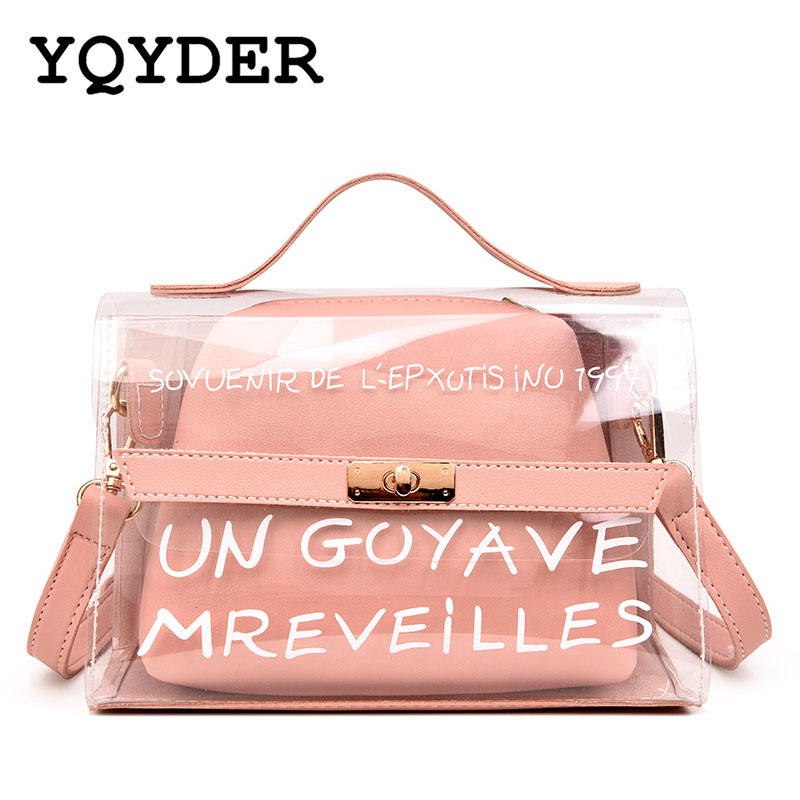 New Design Women Transparent Bag Clear PVC Jelly Small Tote Summer Beach Bag Messenger Bags Female Crossbody Shoulder Bags Sac toyoosky women summer crossbody bag pvc transparent composite bags set with purse waterproof quilted plaid beach handbags female