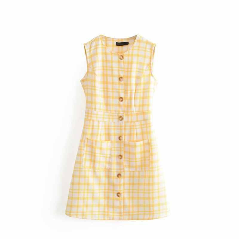 Милое Платье для девочек шикарные желтые клетчатые без рукавов однобортные мини-платья для милых женщин Повседневная Уличная одежда vestidos mujer