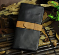 Top Quality Hot Sale Cattle Men male Organizal Vintage Black Genuine leather Credit Card Cash Coin Holder Checkbook Wallet Purse