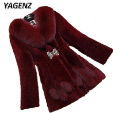 YAGENZ Large size 6XL Winter Women Fur Fur Collar Jacket Coats 2017 Fashion Slim Medium Long Warm Long Sleeve Faux Fur Overcoats