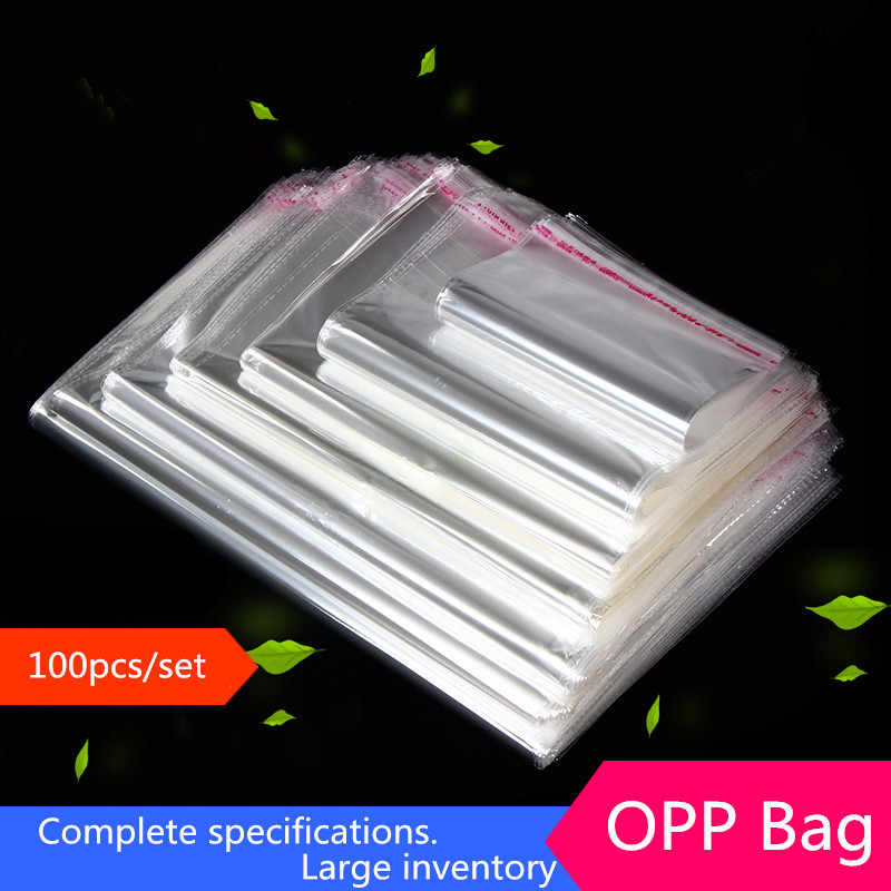 100 Multiple size Clear Self-adhesive Cello Cellophane Bag Self Sealing Small Plastic Bags for Candy Packing Resealable Bag 77