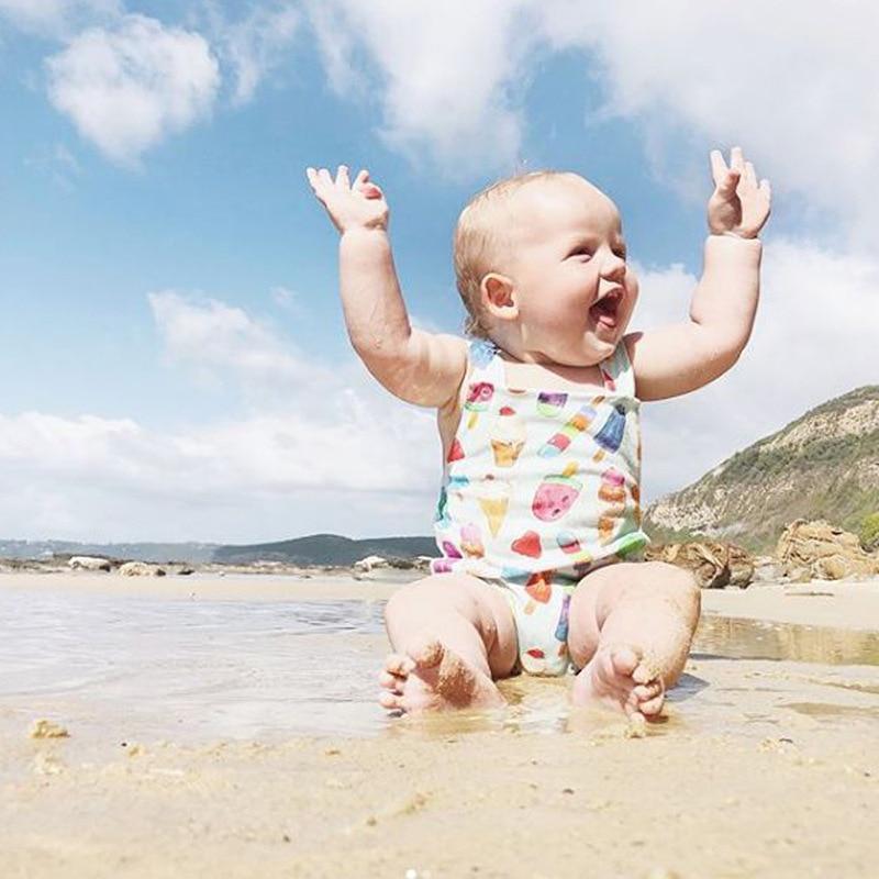Ragazza Dei Bambini Sleeveless Della Maglia Costumi Da Bagno Modello Gelato Vestito Di Nuoto Di Modo Yh-17