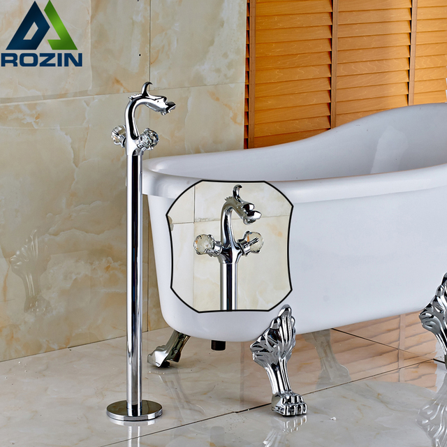 Freestanding Bathroom Chrome Two Handle Bathtub Faucet Unit Dragon