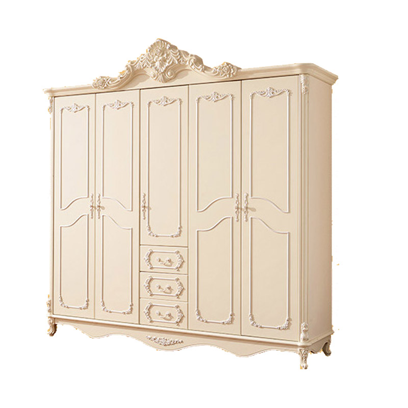 European Style Bedroom Furniture Five Door Armoire White