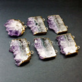 Halloween SALE Double Bail pendants slice amethyst pendants Lovely Pendant Connector with Electroplated 24k Gold Edges