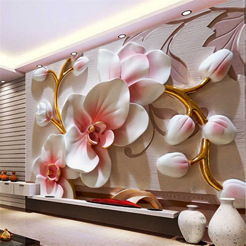 beibehang 3d wallpaper murals custom living room bedroom home decor 3D butterfly orchid relief floral decorative painting murals