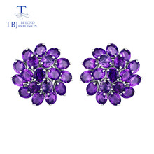 natural gemstone amethyst good clasp earring with 925 sterling silver jewelry simple classic elegant design for women fine gift