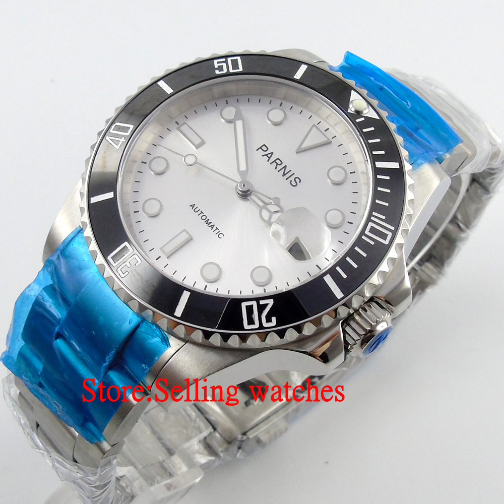 Parnis 40mm Japan Miyota Ceramic Bezel sapphire glass Automatic Watch japan miyota 40mm pvd case parnis men s watch