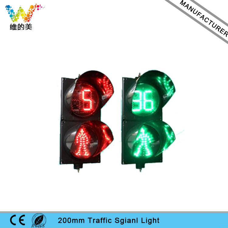Red Standing Green Walking Man 200mm LED Pedestiran Traffic Light with Countdown Timer ...