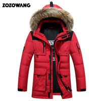 40 degree cold resistant Russia winter jacket men top quality genuine fur collar thick warm white duck down men's winter coat