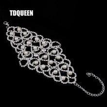 4d47bf83de95 TDQUEEN mujer pulseras de perlas simuladas de diamantes de imitación de  plata Color brazo joyería boda fiesta amplia esclavo bra.