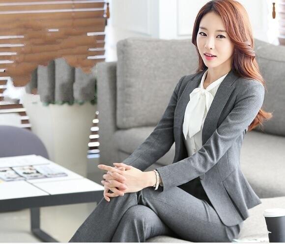 Ensemble Vêtements Formel Office Pièces Lx9606 Uniforme Style lx9606 Travail Noir Lady Affaires Costume B283 Gray gris Pantalon Femmes 2 D'entrevue Black De 0wvm8nNO