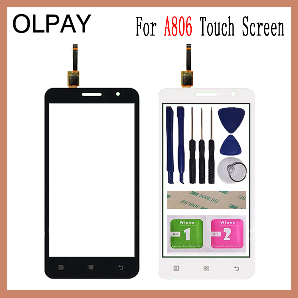 OLPAY 5.0'' For Lenovo A806 A806T A808 A8 Capacitive Touch Screen Touch Digitizer Panel Glass Tools Free Adhesive And Wipes-in Mobile Phone Touch Panel from Cellphones & Telecommunications