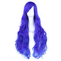 Soowee 80cm Long Curly Hair Blue Gray Cosplay Wig Heat Resistant Synthetic Hair Headwear Accessories Party Wigs for Women