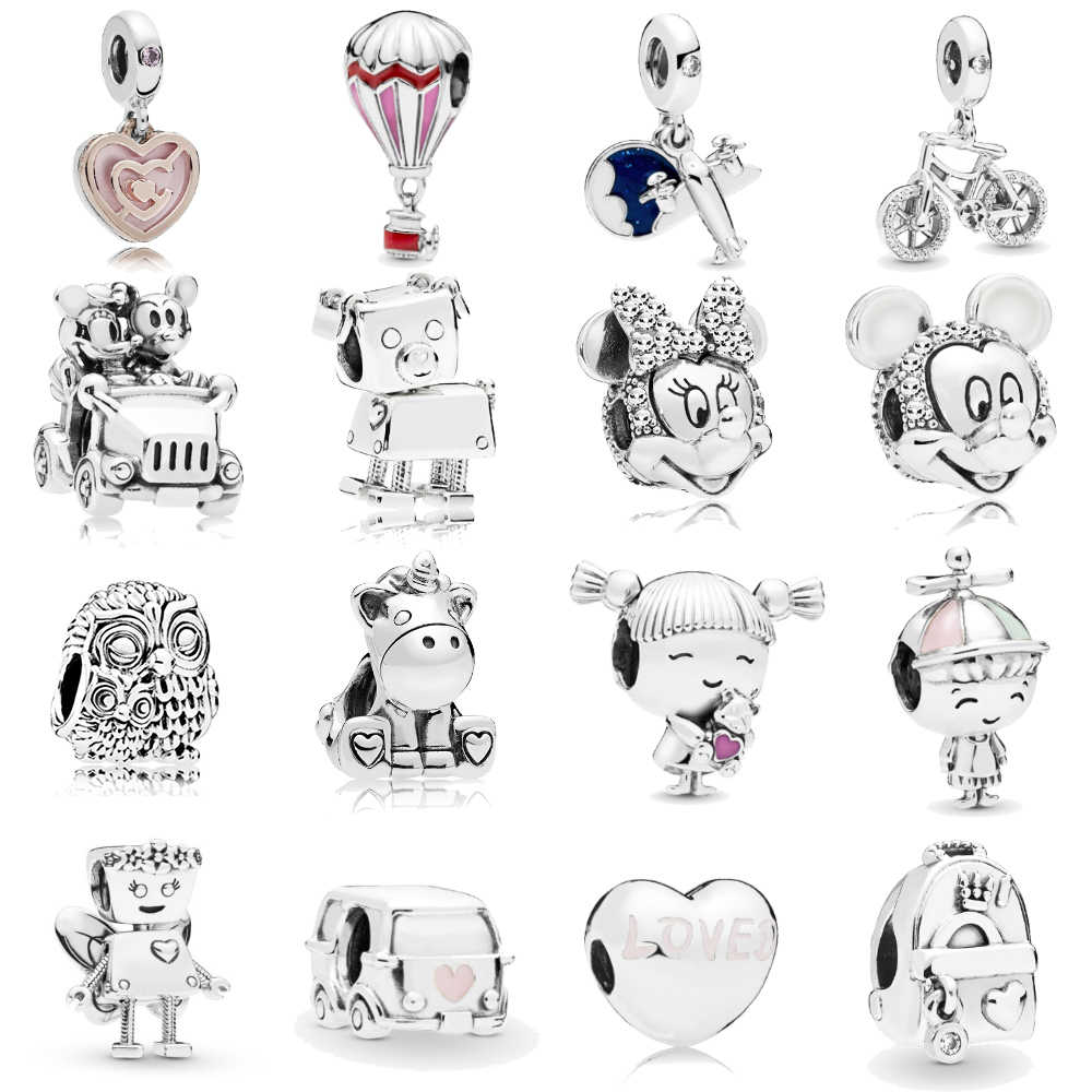 Homod Silver Plated Aircraft Bicycle Mickey Unicorn Charms Beads  Fits Pandora Bracelets & Necklace For Women DIY Lovers Jeweley
