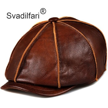 Svadilfari Genuine Leather Hat Cap belt Cowhide Warm winter cotton men padding brand new gastby beret hunting cap/hat ear flap svadilfari classic beret caps men warm genuine leather caps ivy windproof duckbill hat burgundy winter luxury brand flat hats
