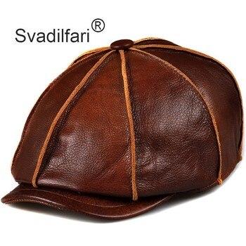 Svadilfari Genuine Leather Hat Cap belt Cowhide Warm winter cotton men padding brand new gastby beret hunting cap/hat ear flap