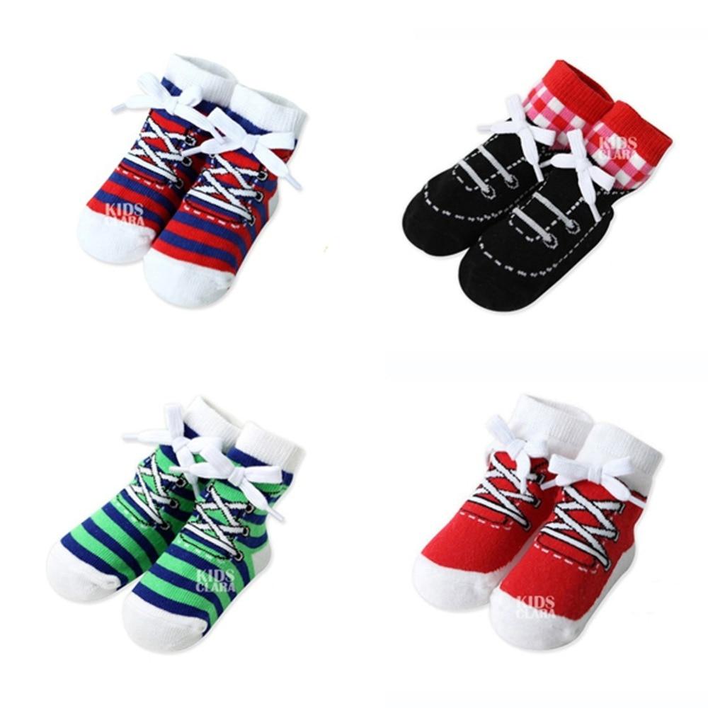 Baby Infant Cotton Shoelaces Anti Slip Trainer Socks Booties Socks 0-4Y S M