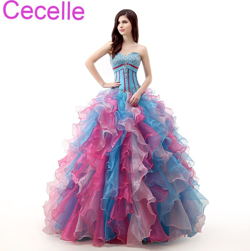 Blue Long Ball Gown   Prom     Dresses   2019 Sweetheart Ruffles Skirt Beading Top Corset Colorful Girls Formal   Prom   Party   Dresses   Gowns
