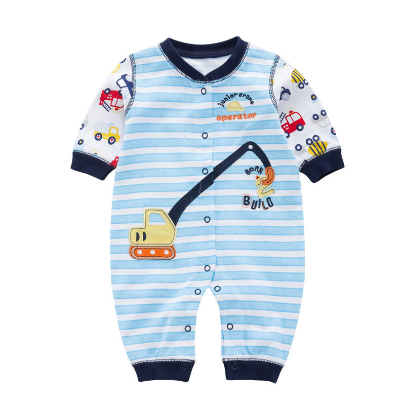 2018 Baby Girl Boy Rompers Spring Autumn Baby Clothing Infant Button Clothes Car dredge Printed Stripe Long Sleeve Romper