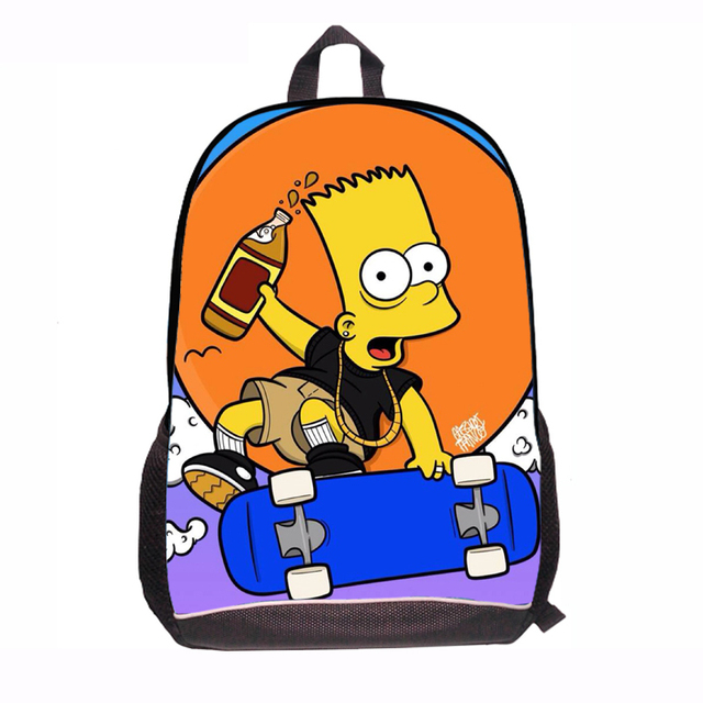 Cartoon New 2015 The Simpsons Bag Women Middle The Simpsons School Bag for Student boys and girls The Simpsons Family Bags