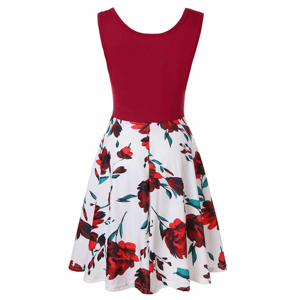 Vestido de verano sin mangas con estampado Floral para mujer vestidos de verano para mujer 2019 vestidos de fiesta de noche xxl materiales de alta calidad Feb28