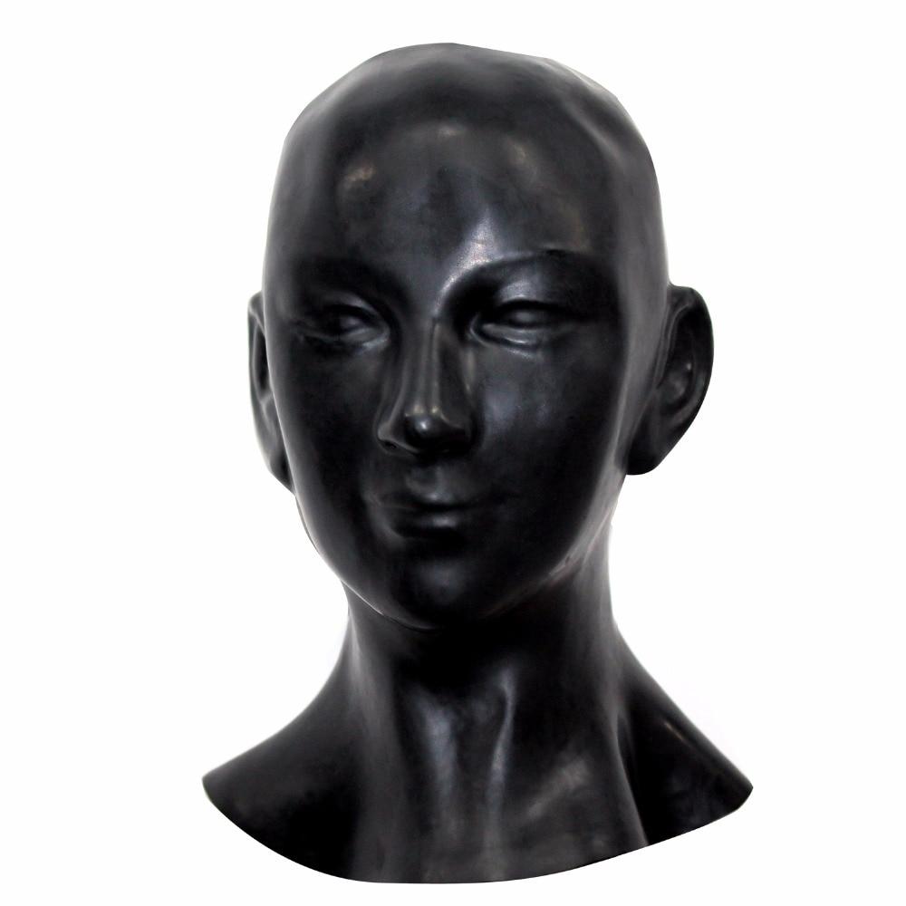 (LH001) fétiche Latex pleine tête humain anatomique femme visage latex masque SM étouffant caoutchouc capuche SM étouffant masque fétiche porter