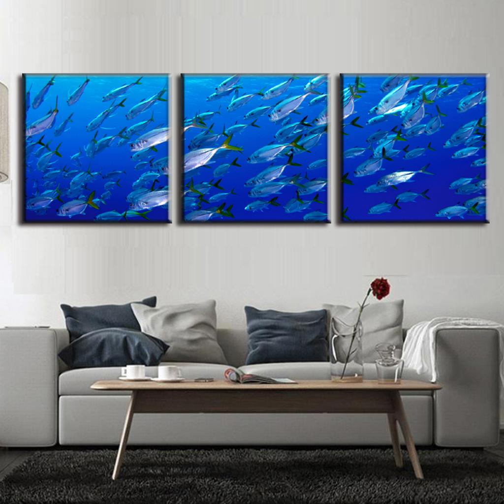 3 pcs set framed canvas wall art picture deep sea fishes in blue canvas print wall pictures for. Black Bedroom Furniture Sets. Home Design Ideas