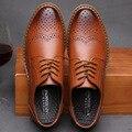 2016 Модный Бренд Акцентом Обувь Мужчины Лето Осень Отметил Кружева Кожаные Ботинки Твердые Классический Мужчины Свадебные Туфли Zapatos Hombre LA84