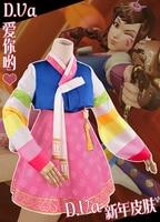 DVA Costume Hot Game OW Dress Adult Woman Korean Design Dva Dressed Cosplay Dva Hanbok Skin