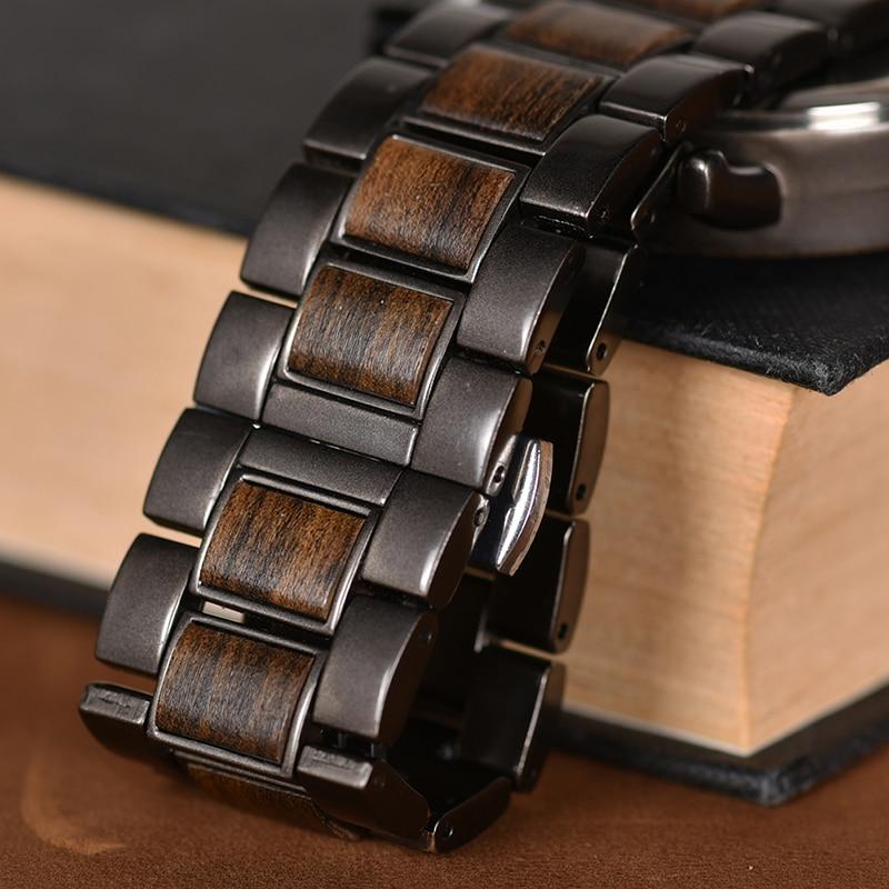 masculino elegante relógios de madeira cronógrafo relógios