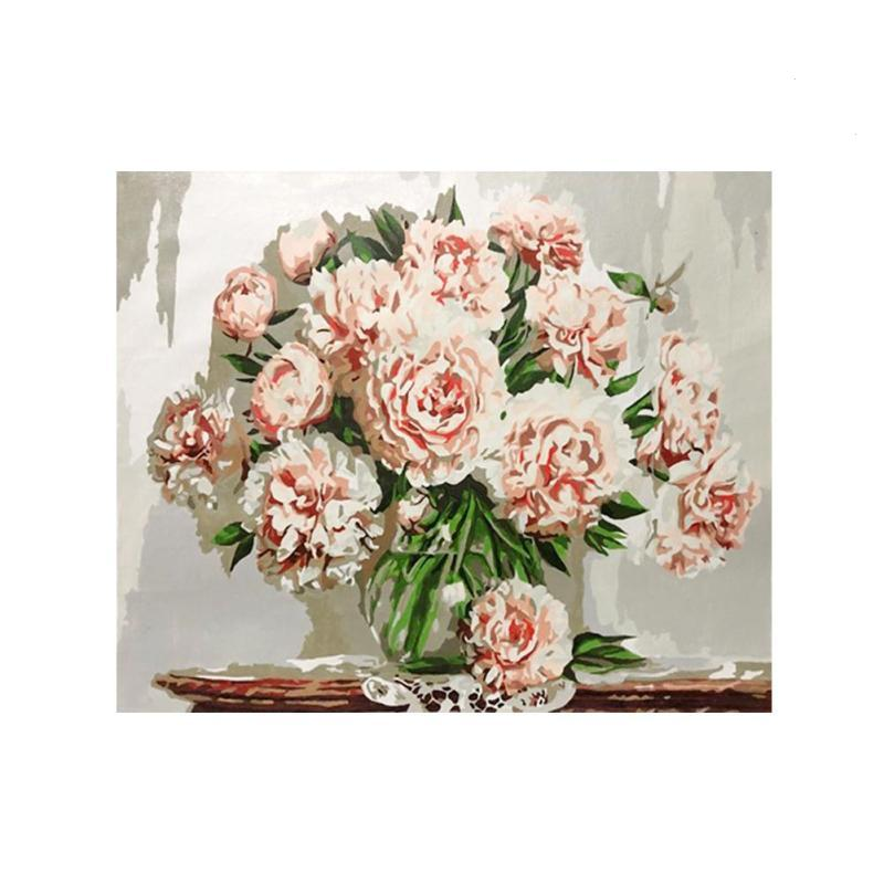 Frameless Canvas Art Oil Painting Flower Painting Design: Frameless Flowers DIY Digital Oil Painting By Numbers