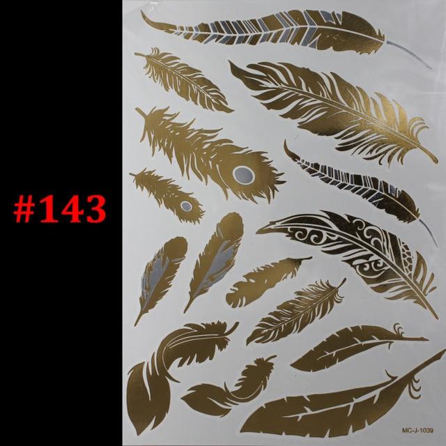 Tattoo Flash Wallpaper By Feathr: 1PC Flash Metallic Waterproof Tattoo Gold Silver Women