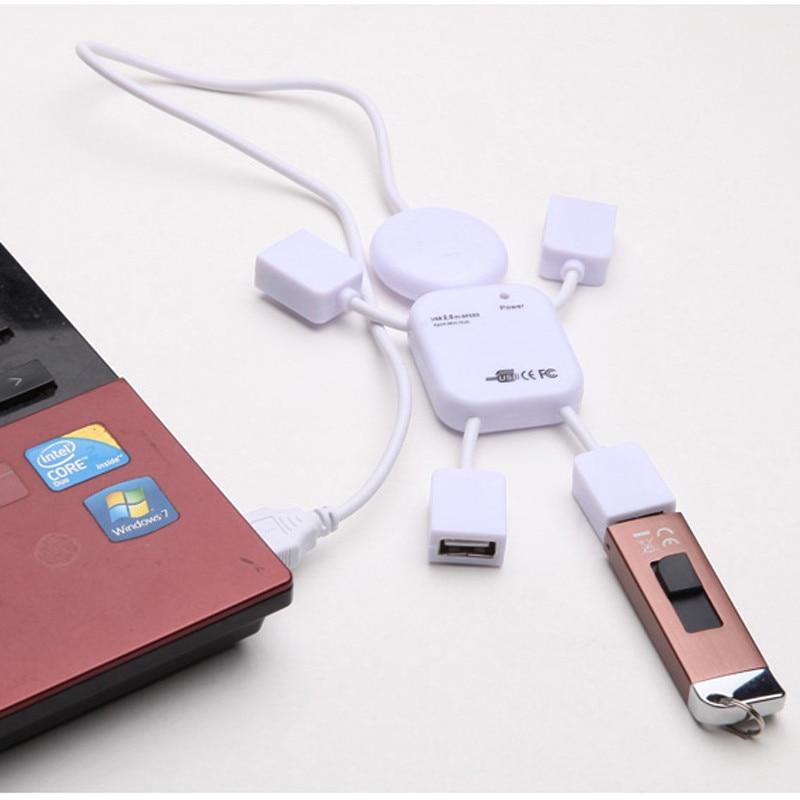 Best Price Mini Lovely White Human Doll Shape High Speed USB 4 ports Hub For PC Computer Laptop Port Splitter Drop Shipping Аппаратный порт